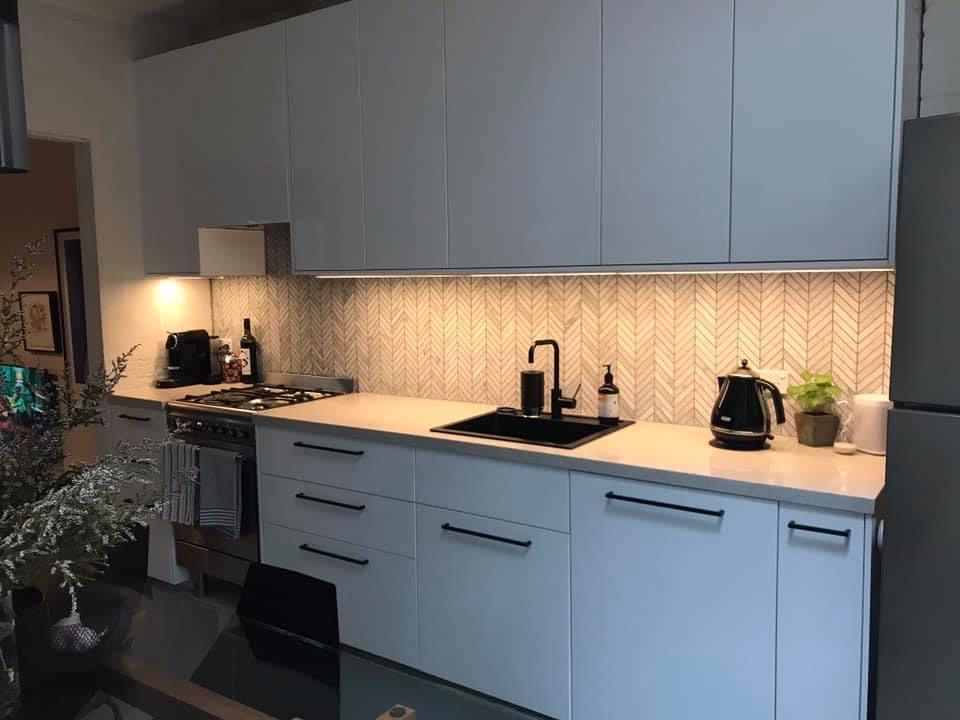 different angle of installed flat pack kitchen